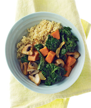 Quinoa with Kale, Mushrooms and Sweet Potatoes.
