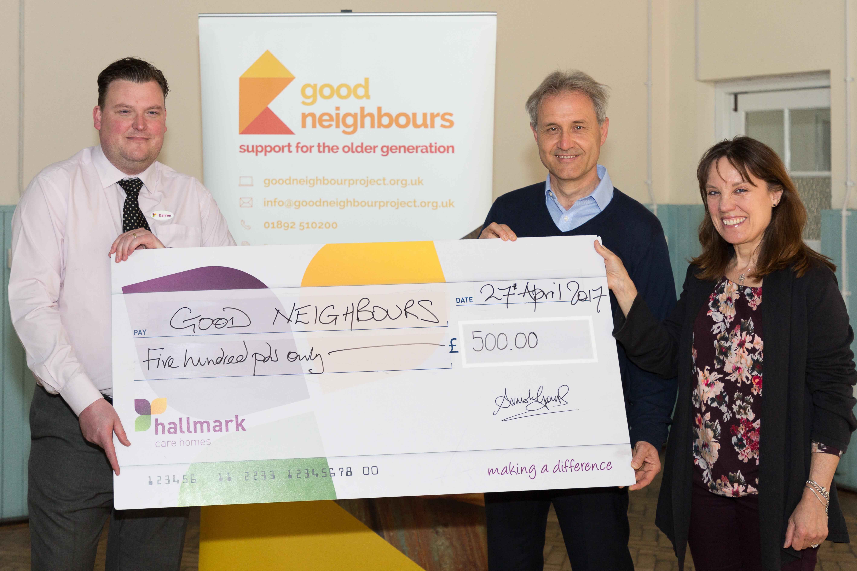Chamberlain Court care home donates £1,000 to good neighbours