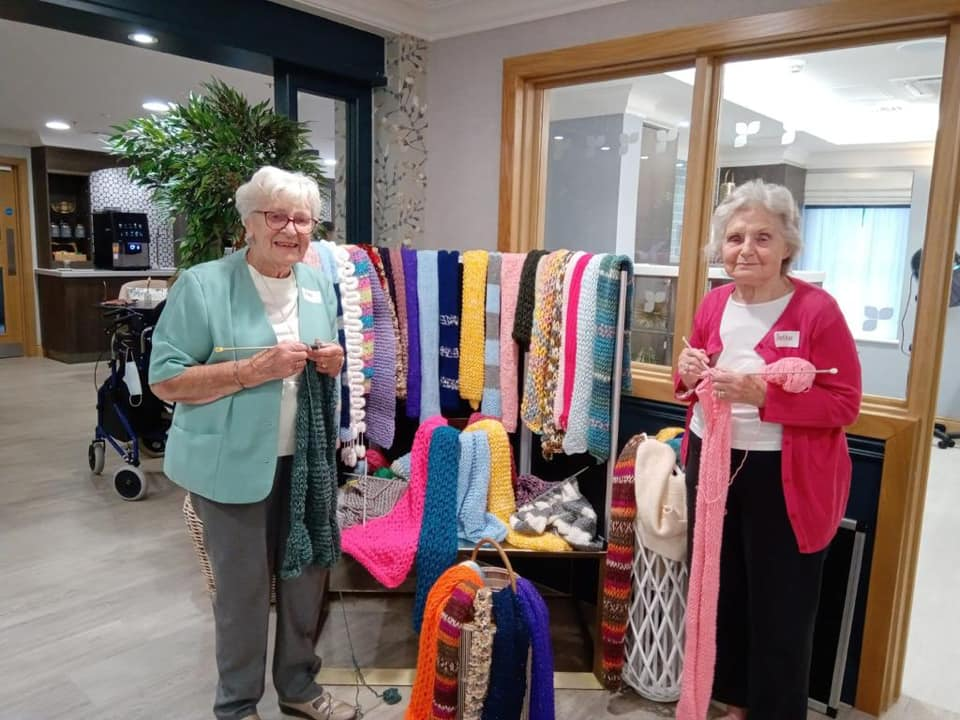 Hallmark Care Homes knit 493 scarves for charity