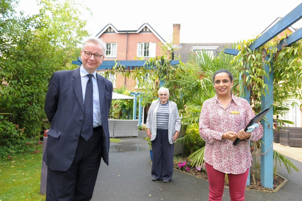 MP Michael Gove praises care workers at Lakeview Care Home during visit